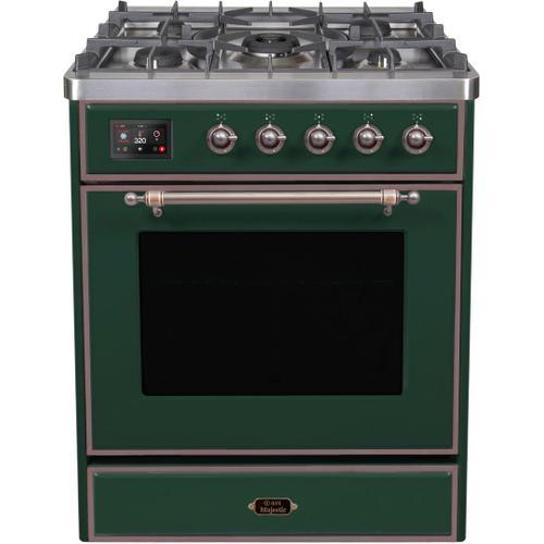 Majestic II 30 Inch Dual Fuel Natural Gas Freestanding Range in Emerald Green with Bronze Trim