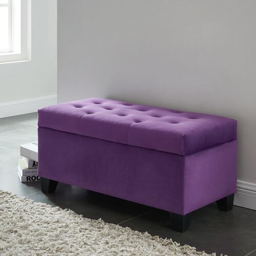 Sally Rectangular Storage Ottoman in Purple