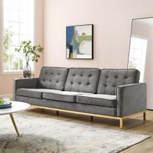 Loft Gold Stainless Steel Leg Performance Velvet Sofa in Gold Gray