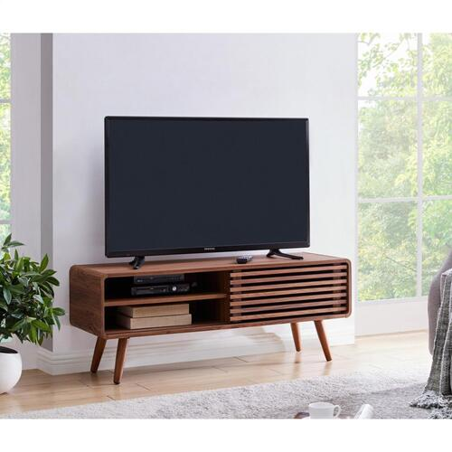 "Wilson 46"" KD Slat Low TV Stand, Walnut (ASSEMBLY REQUIRED)"