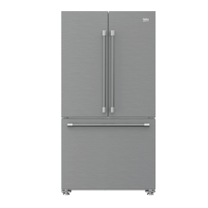 "Beko36"" French Three-Door Stainless Steel Refrigerator"