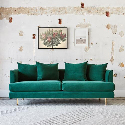 Margot Sofa Velvet Spruce / Brass