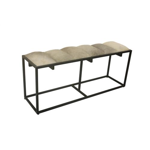 Hampton Black Metal and Cowhide Bench