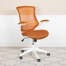 See Details - Mid-Back Tan Mesh Swivel Ergonomic Task Office Chair with White Frame and Flip-Up Arms