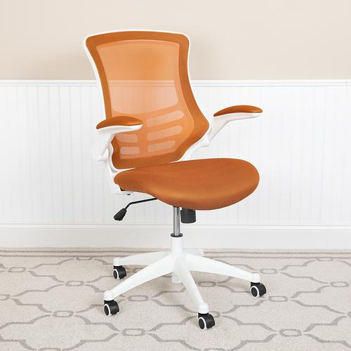 Gallery - Mid-Back Tan Mesh Swivel Ergonomic Task Office Chair with White Frame and Flip-Up Arms