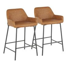 Daniella Counter Stool - Set Of 2 - Black Metal, Camel Pu