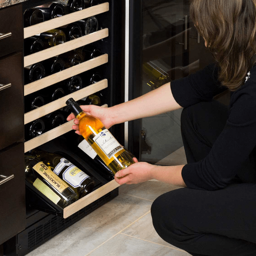 Marvel - 24-In Built-In High-Efficiency Single Zone Wine Refrigerator With Display Rack with Door Style - Stainless Steel Frame Glass