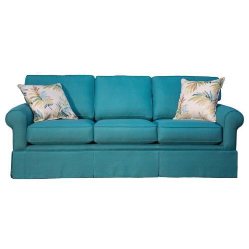 "Capris Furniture - 3 over 3 Convo-Lux seat cushion Skirted Sofa w/ 2-1/2"" Walnut legs."