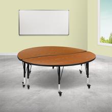 "See Details - 2 Piece Mobile 60"" Circle Wave Flexible Oak Thermal Laminate Kids Adjustable Activity Table Set"