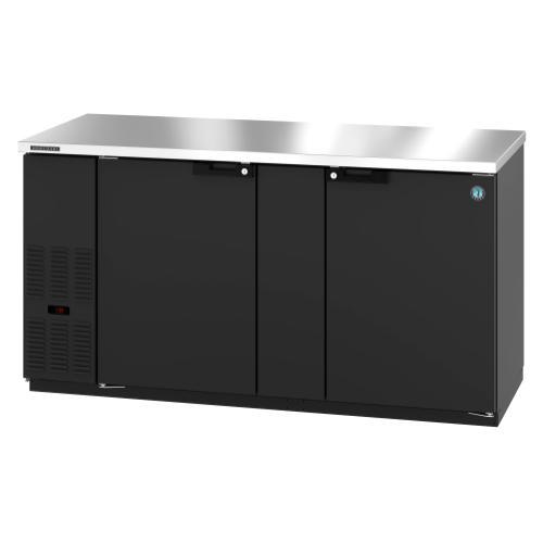 HBB-3-69, Refrigerator, Two Section, Black Vinyl Back Bar Back Bar, Solid Doors