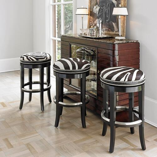 Zebrano Swivel Counter Stool - Backless