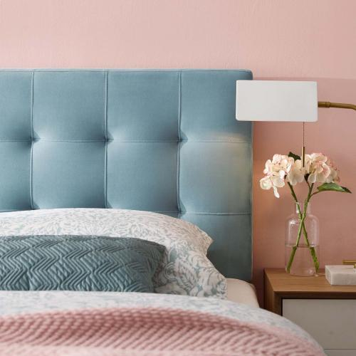 Lily Queen Biscuit Tufted Performance Velvet Headboard in Light Blue