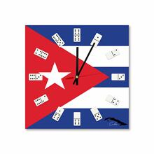 Square Cuban Flag Map Acrylic Wall Clock