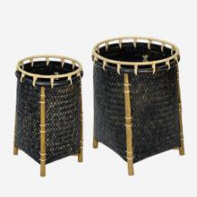 Lucca Round Baskets-Set/2, Black Wash