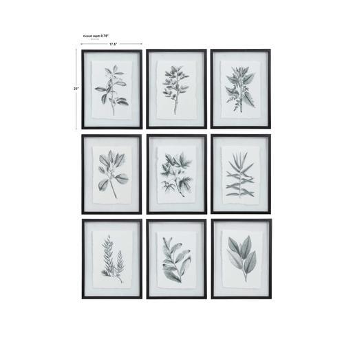 Farmhouse Florals Framed Prints, S/9