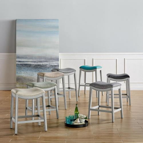 Grover KD PU Counter Stool Ash Gray Frame, Matte Turquoise