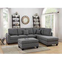 Iwan 2pc Sectional Sofa Set, Ash-black-cotton-blend