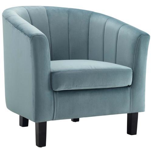 Modway - Prospect Channel Tufted Performance Velvet Armchair in Light Blue