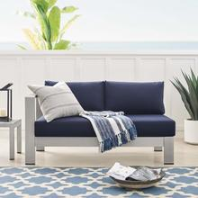 Shore Sunbrella® Fabric Aluminum Outdoor Patio Left-Arm Loveseat in Silver Navy