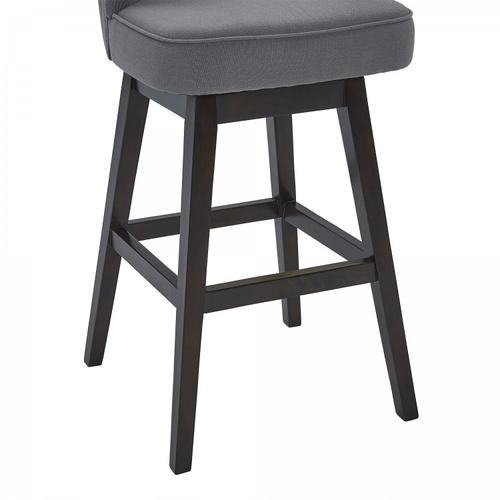 """Armen Living Celine 26"""" Counter Height Barstool in Espresso Finish and Grey Fabric"""