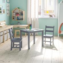 See Details - Kids Solid Hardwood Table and Chair Set for Playroom, Bedroom, Kitchen - 3 Piece Set - Gray