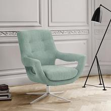 See Details - Quinn Contemporary Adjustable Swivel Accent Chair in Polished Steel Finish with Spa Blue Fabric