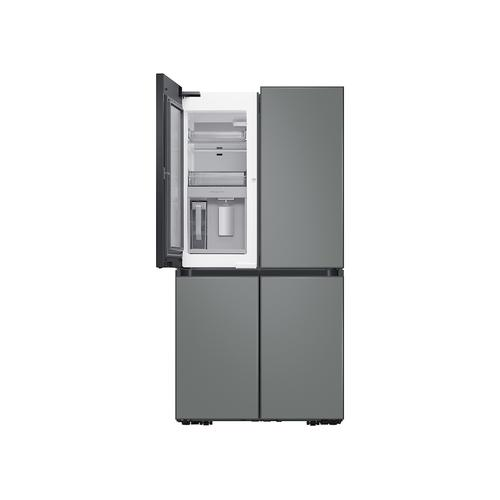Samsung - 29 cu. ft. Smart BESPOKE 4-Door Flex™ Refrigerator with Customizable Panel Colors in White Glass Top and Grey Glass Bottom