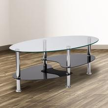 See Details - Hampden Glass Coffee Table with Black Glass Shelves and Stainless Steel Legs