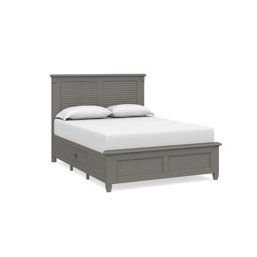Twin/Ocean Grey Shoreline Louvered Storage Bed