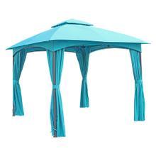 St. Kitts 3-meter Steel Dome-top Gazebo with Curtains - Dark Grey/Aqua Blue