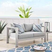 Shore Sunbrella® Fabric Aluminum Outdoor Patio Loveseat in Silver Gray