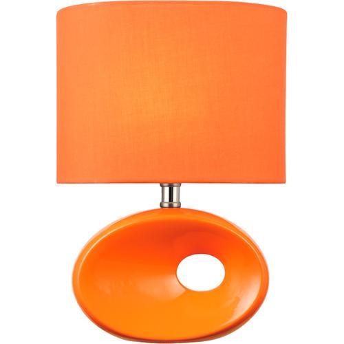 Table Lamp, Orange Ceramic Body/orange Fabric, E27 Cfl 13w