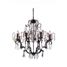 Charlotte Collection Chandelier D:32 H:35 Lt:8 Antique Bronze Finish Clear Royal Cut crystal
