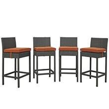 Sojourn 4 Piece Outdoor Patio Sunbrella® Pub Set in Canvas Tuscan
