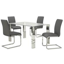 Frankfurt/Maxim 5pc Dining Set, Chrome/Grey