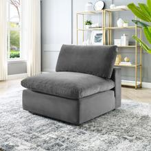 Commix Down Filled Overstuffed Performance Velvet Armless Chair in Gray