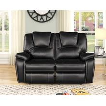 8087 BLACK Power Recliner Air Leather Loveseat