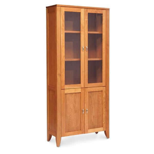 See Details - Justine Bookcase with Glass Doors on Top and Wood Doors on Bottom, 2 Adjustable Shelves