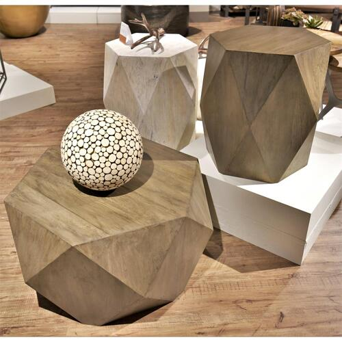 Geometric Side Table - Sandy White Finish