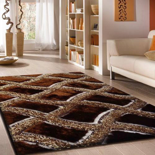 Designer Shag S.V.D. 75 Area Rug by Rug Factory Plus - 5' x 7' / Brown