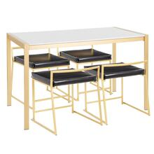 See Details - Fuji Dinette Set - Gold Metal, White Marble, Black Pu