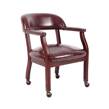 Vinyl Leather Conference Chair with Caster Wheels - Burgundy