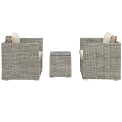 Repose 3 Piece Outdoor Patio Sectional Set in Light Gray Beige