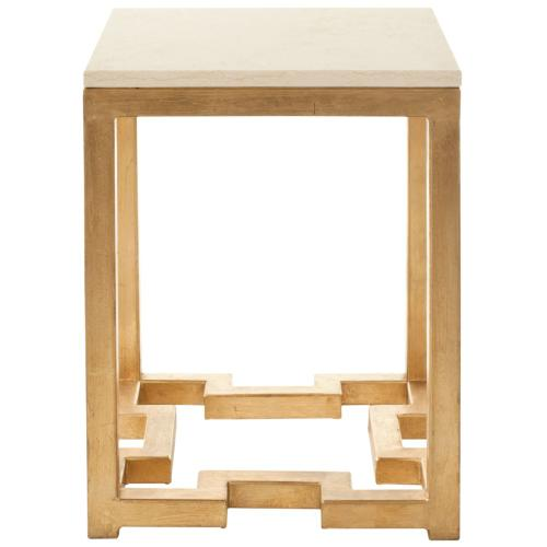 Ray Marble Top Gold Accent Table - Ivory / Gold