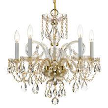 See Details - Traditional Crystal 5 Light Swarovski Strass Crystal Brass Chandelier