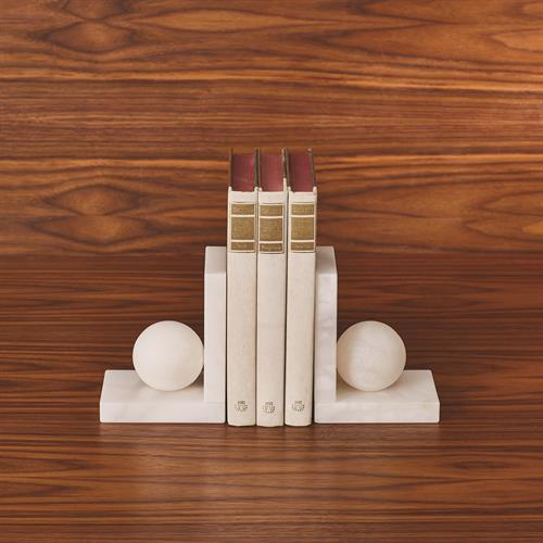 Alabaster Ball Bookends-Pair
