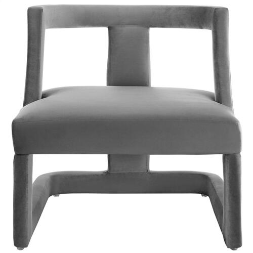 Requisite Accent Lounge Performance Velvet Armchair in Gray