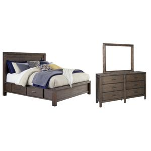 California King Panel Bed With 4 Storage Drawers With Mirrored Dresser