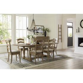 Louis Farmhouse - Upholstered Side Chair - Antique Oak Finish