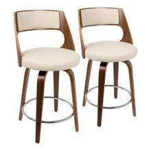 Cecina 24'' Counter Stool - Set Of 2 - Walnut Wood, Cream Pu, Chrome